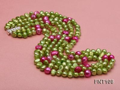 Tree-strand Green and Aubergine Freshwater Pearl Necklace, Bracelet and Earrings Set FNT108 Image 5