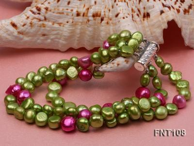 Tree-strand Green and Aubergine Freshwater Pearl Necklace, Bracelet and Earrings Set FNT108 Image 6