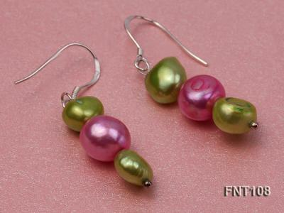 Tree-strand Green and Aubergine Freshwater Pearl Necklace, Bracelet and Earrings Set FNT108 Image 7