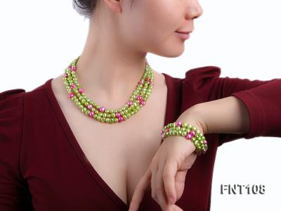 Tree-strand Green and Aubergine Freshwater Pearl Necklace, Bracelet and Earrings Set FNT108 Image 8