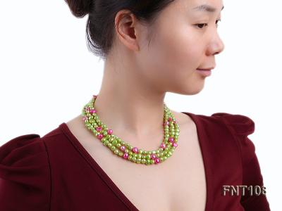 Tree-strand Green and Aubergine Freshwater Pearl Necklace, Bracelet and Earrings Set FNT108 Image 10