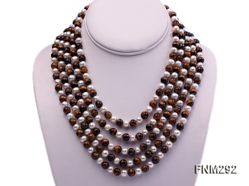 5 Strand White Freshwater Pearl and Tiger-eye Stone Necklace with Sterling Sliver Clasp big Image 1