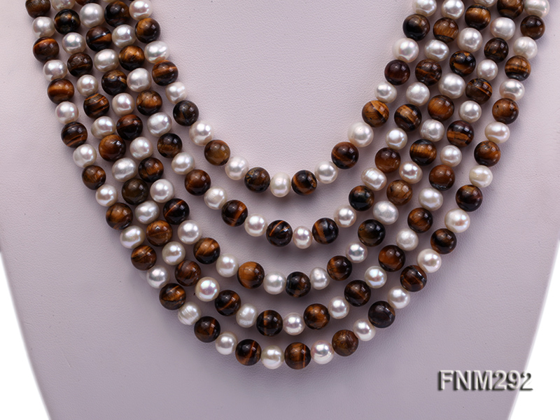 5 Strand White Freshwater Pearl and Tiger-eye Stone Necklace with Sterling Sliver Clasp big Image 2