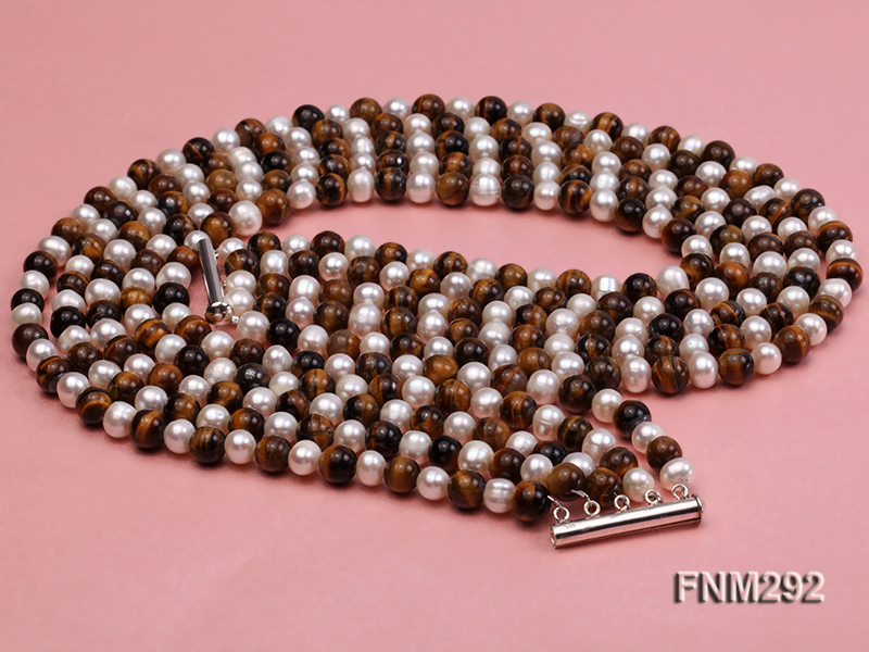 5 Strand White Freshwater Pearl and Tiger-eye Stone Necklace with Sterling Sliver Clasp big Image 3