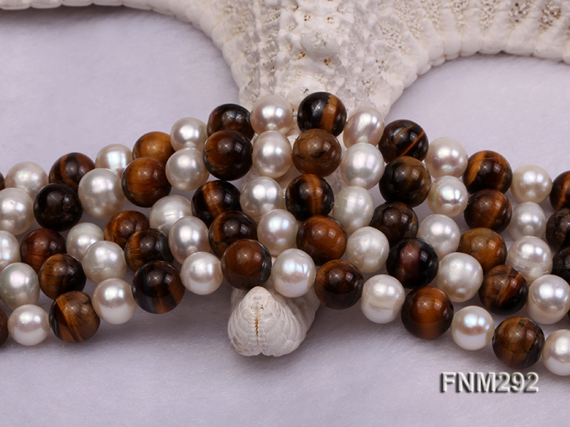 5 Strand White Freshwater Pearl and Tiger-eye Stone Necklace with Sterling Sliver Clasp big Image 4