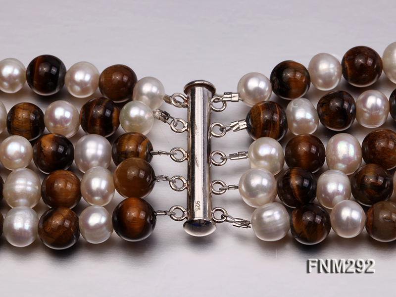 5 Strand White Freshwater Pearl and Tiger-eye Stone Necklace with Sterling Sliver Clasp big Image 5