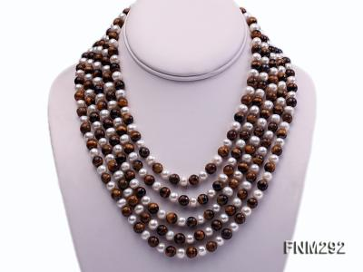 5 Strand White Freshwater Pearl and Tiger-eye Stone Necklace with Sterling Sliver Clasp FNM292 Image 1