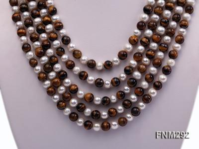 5 Strand White Freshwater Pearl and Tiger-eye Stone Necklace with Sterling Sliver Clasp FNM292 Image 2