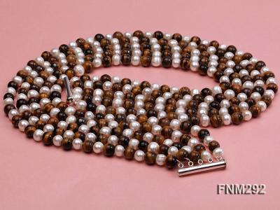 5 Strand White Freshwater Pearl and Tiger-eye Stone Necklace with Sterling Sliver Clasp FNM292 Image 3