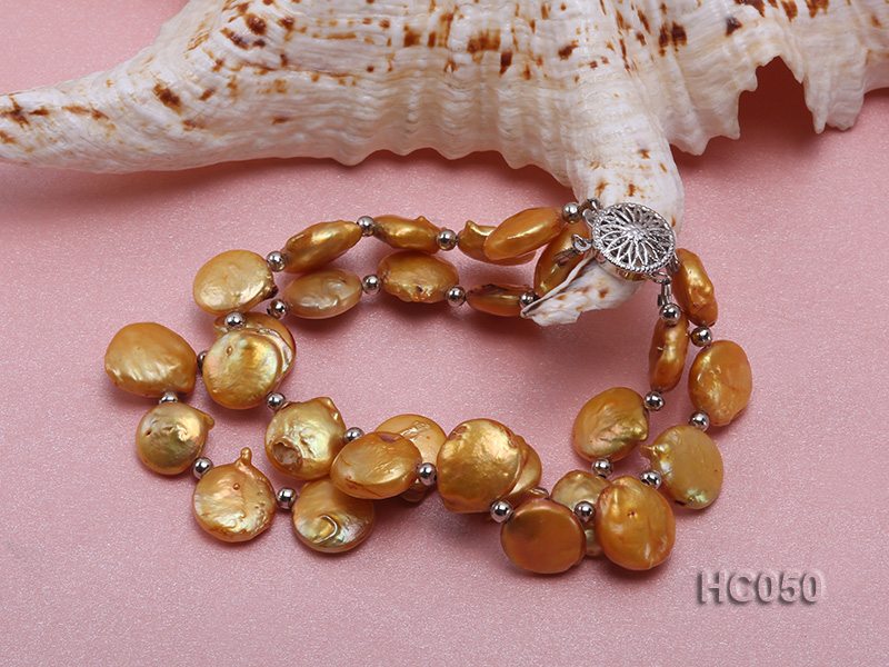 2 strands yellow button freshwater pearl bracelet big Image 2