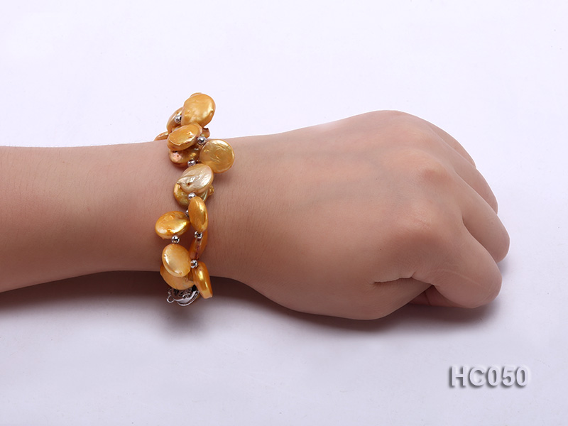 2 strands yellow button freshwater pearl bracelet big Image 4