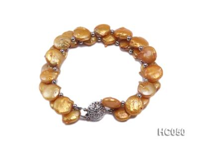 2 strands yellow button freshwater pearl bracelet HC050 Image 1