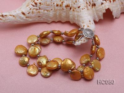 2 strands yellow button freshwater pearl bracelet HC050 Image 2