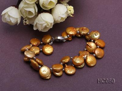 2 strands yellow button freshwater pearl bracelet HC050 Image 3