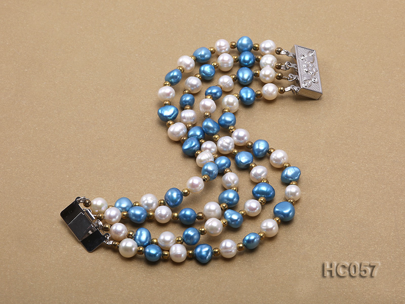 4 strand 7-8mm white and bule freshwater pearl bracelet big Image 2