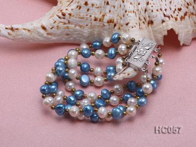 4 strand 7-8mm white and bule freshwater pearl bracelet HC057 Image 4