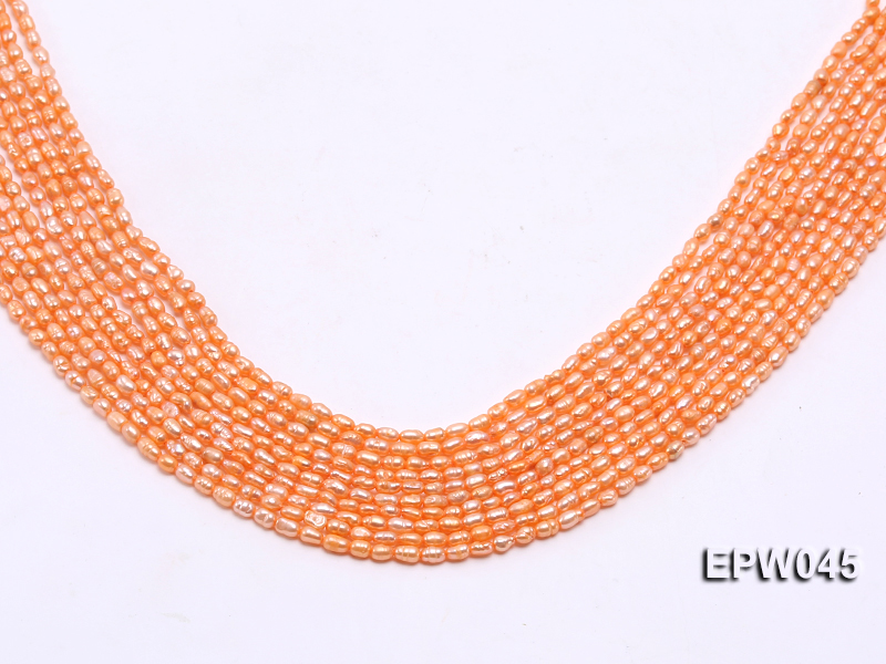Wholesale 3x4.5mm High-quality Pink Rice-shaped Freshwater Pearl String big Image 1