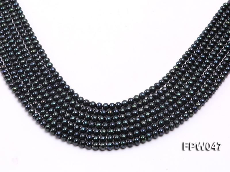 Wholesale 5.5x6.5mm Black Flat Cultured Freshwater Pearl String big Image 1