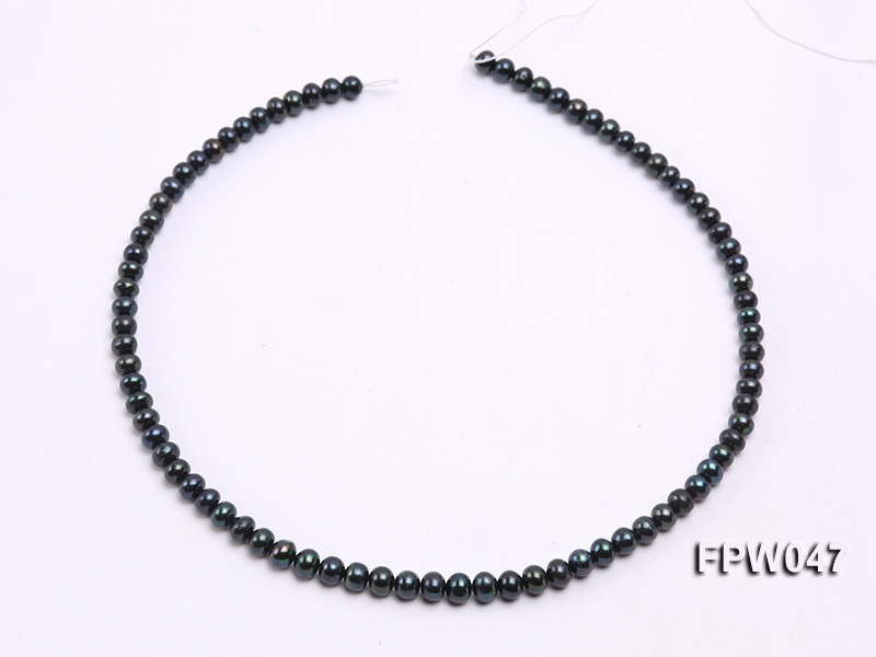 Wholesale 5.5x6.5mm Black Flat Cultured Freshwater Pearl String big Image 3