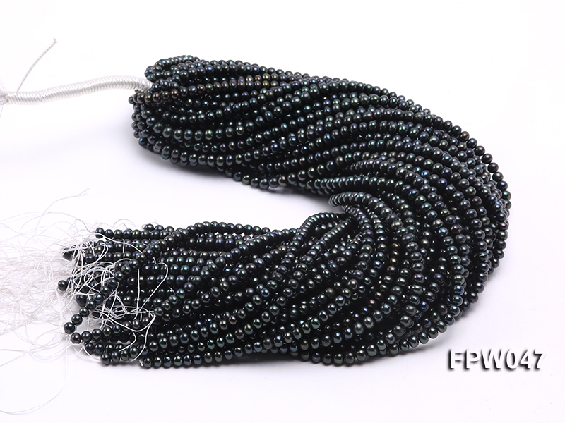 Wholesale 5.5x6.5mm Black Flat Cultured Freshwater Pearl String big Image 4