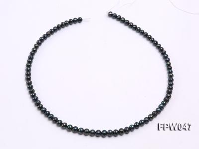 Wholesale 5.5x6.5mm Black Flat Cultured Freshwater Pearl String FPW047 Image 3