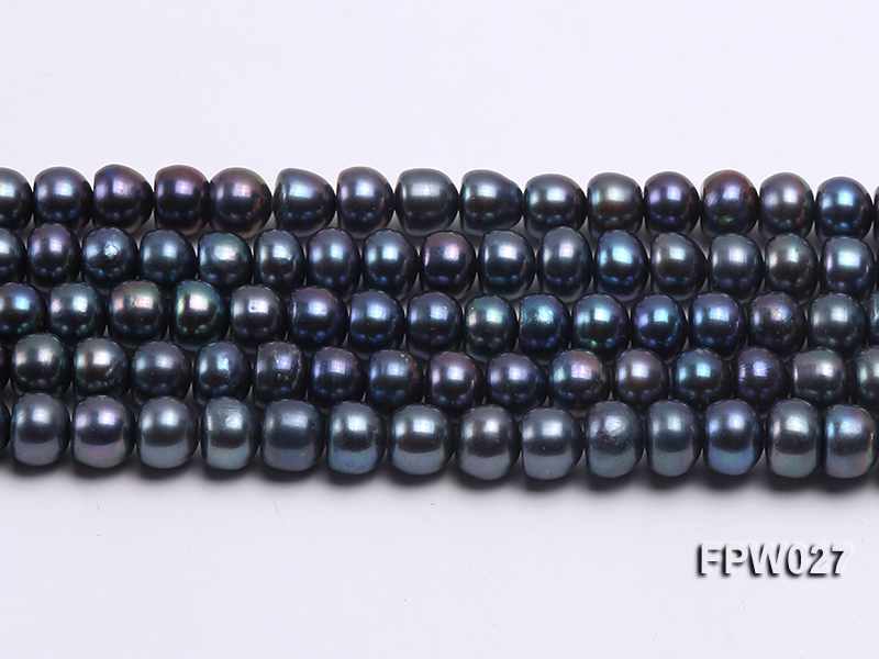 Wholesale 7.5X10mm Black Flat Cultured Freshwater Pearl String big Image 2