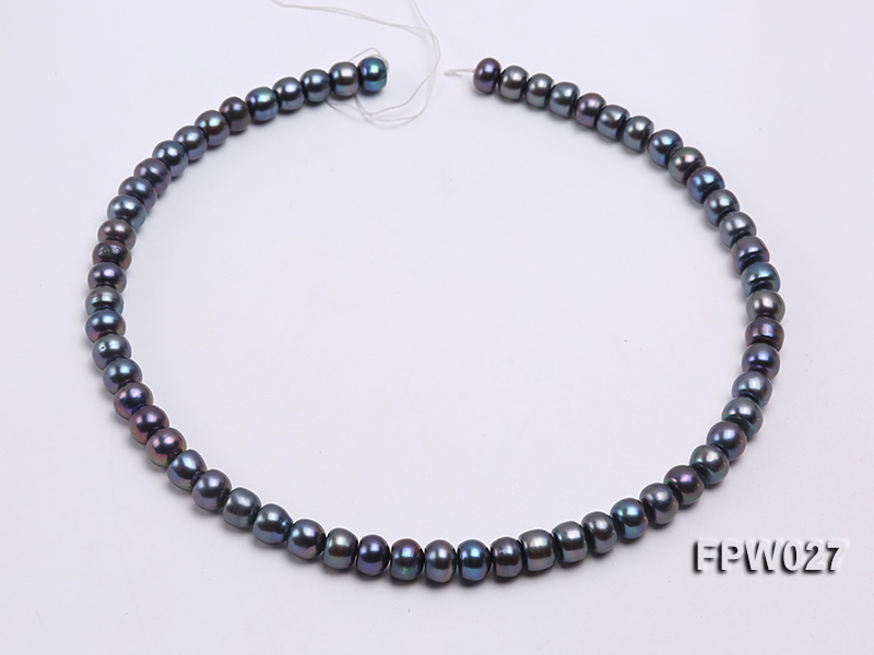 Wholesale 7.5X10mm Black Flat Cultured Freshwater Pearl String big Image 3