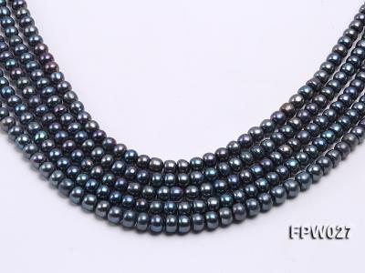 Wholesale 7.5X10mm Black Flat Cultured Freshwater Pearl String FPW048 Image 1