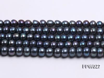 Wholesale 7.5X10mm Black Flat Cultured Freshwater Pearl String FPW048 Image 2