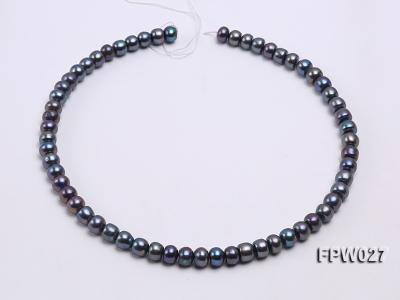 Wholesale 7.5X10mm Black Flat Cultured Freshwater Pearl String FPW048 Image 3