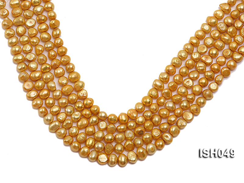 Wholesale 6x8mm Golden Falt Freshwater Pearl String big Image 1