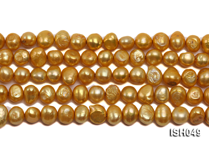 Wholesale 6x8mm Golden Falt Freshwater Pearl String big Image 2