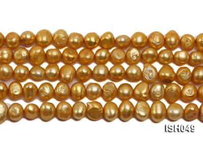 Wholesale 6x8mm Golden Falt Freshwater Pearl String ISH049 Image 2