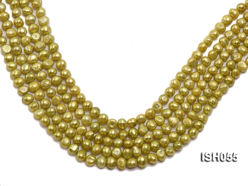 Wholesale 7x9mm Green Flat Freshwater Pearl String big Image 1