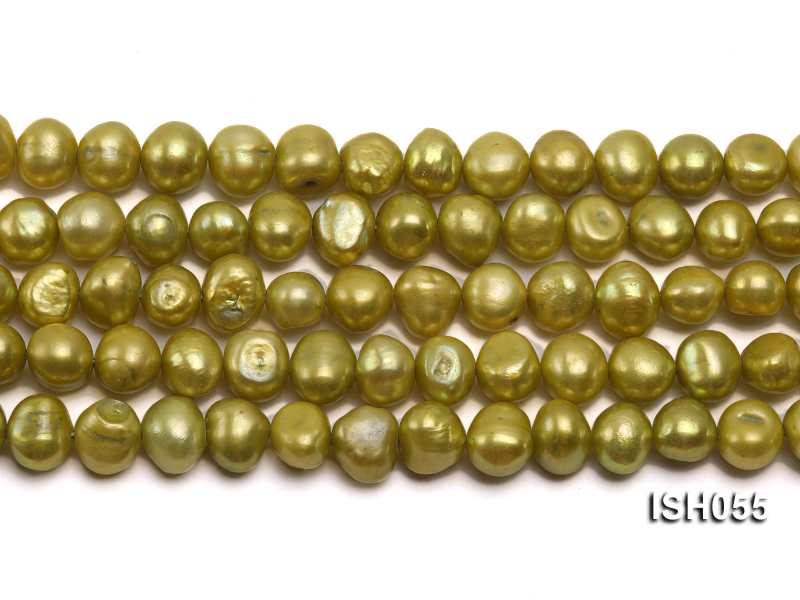 Wholesale 7x9mm Green Flat Freshwater Pearl String big Image 2