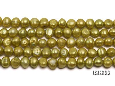Wholesale 7x9mm Green Flat Freshwater Pearl String ISH055 Image 2