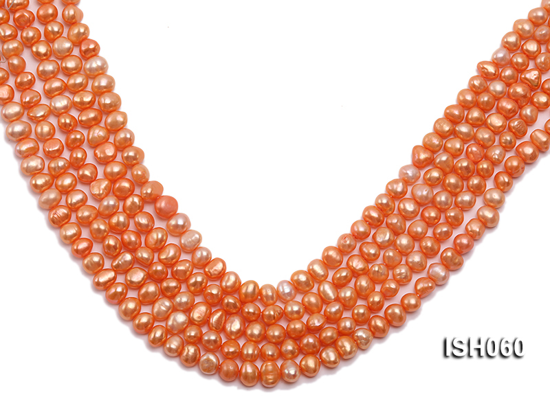 Wholesale 7x9mm Orange Flat Cultured Freshwater Pearl String big Image 1