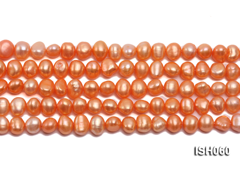 Wholesale 7x9mm Orange Flat Cultured Freshwater Pearl String big Image 2