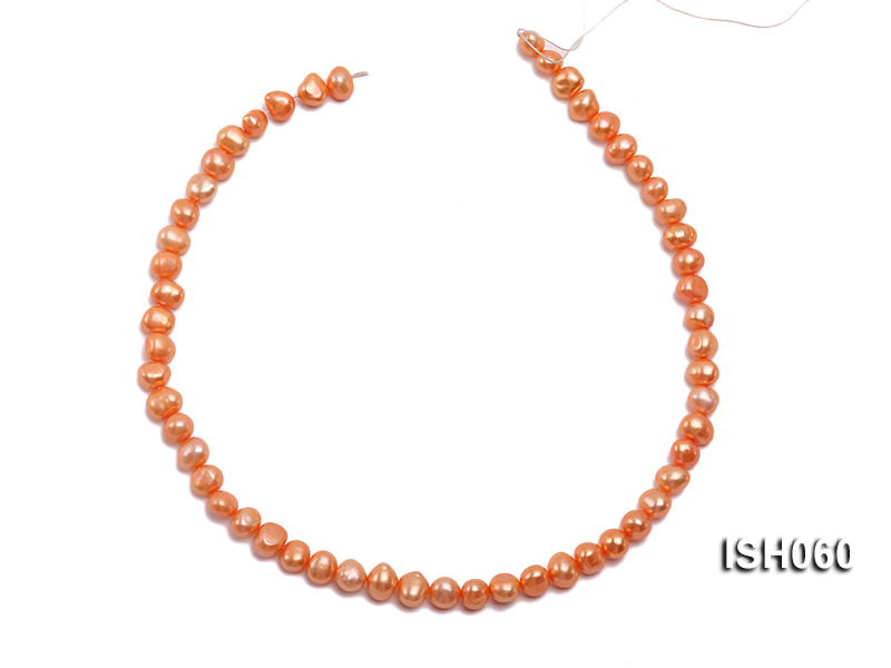 Wholesale 7x9mm Orange Flat Cultured Freshwater Pearl String big Image 3