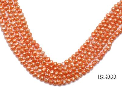 Wholesale 7x9mm Orange Flat Cultured Freshwater Pearl String ISH060 Image 1