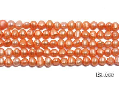 Wholesale 7x9mm Orange Flat Cultured Freshwater Pearl String ISH060 Image 2