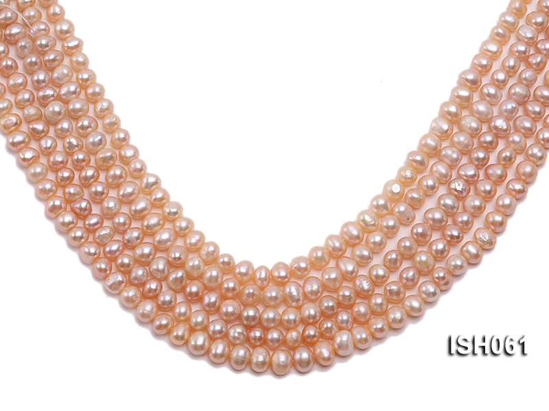 Wholesale 6x8mm Pink  Flat Freshwater Pearl String big Image 1