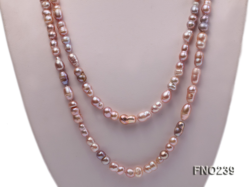 6x11-8x14mm single strand pink irregular freshwater pearl necklace big Image 2
