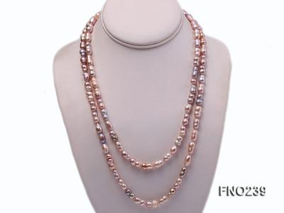 6x11-8x14mm single strand pink irregular freshwater pearl necklace FNO239 Image 1