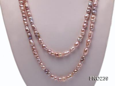 6x11-8x14mm single strand pink irregular freshwater pearl necklace FNO239 Image 2