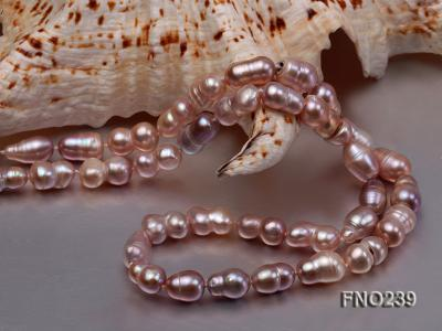 6x11-8x14mm single strand pink irregular freshwater pearl necklace FNO239 Image 5