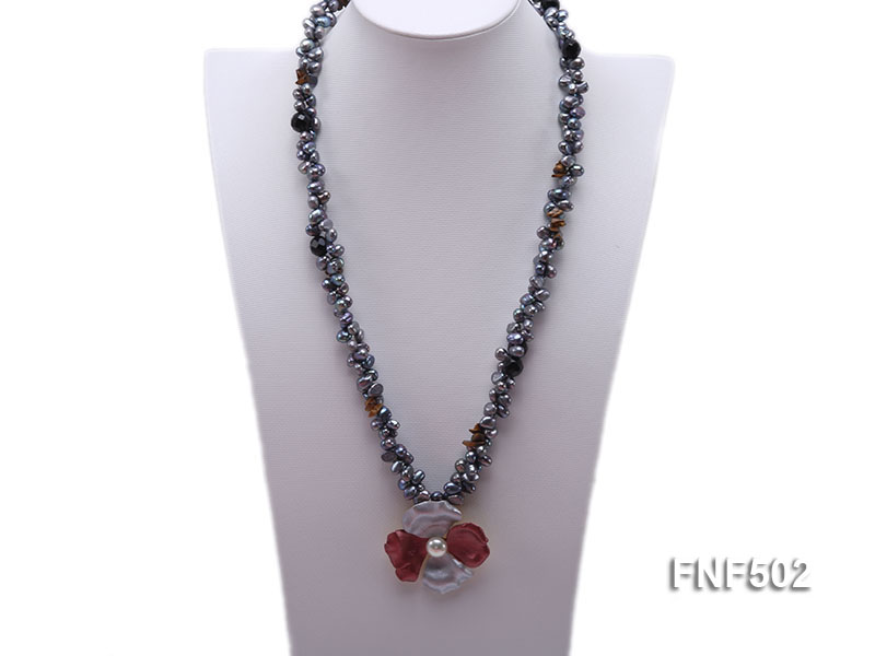 Two-strand Grey Freshwater Pearl, Black Agate Beads, Tiger-eye Chips and Metal Flower Necklace big Image 1