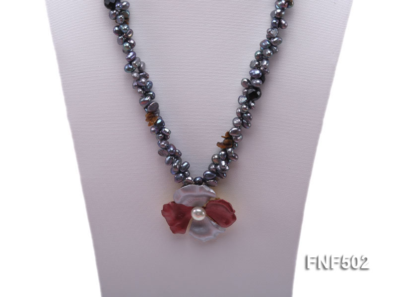 Two-strand Grey Freshwater Pearl, Black Agate Beads, Tiger-eye Chips and Metal Flower Necklace big Image 2