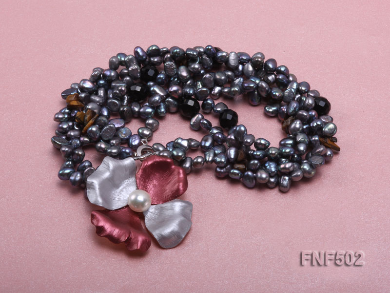 Two-strand Grey Freshwater Pearl, Black Agate Beads, Tiger-eye Chips and Metal Flower Necklace big Image 3