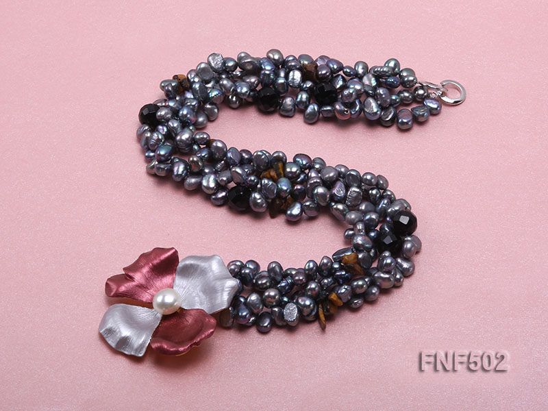 Two-strand Grey Freshwater Pearl, Black Agate Beads, Tiger-eye Chips and Metal Flower Necklace big Image 4